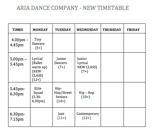 aria dance timetable
